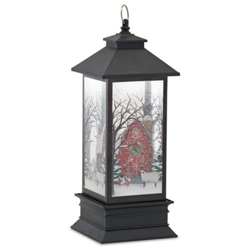 """11.5"""" Red Barn with Wreath Acrylic Snow Globe Lantern with 6 Hour Timer"""