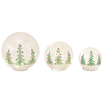 Christmas Tree LED Glass Globes, Set of 3 with 6 Hour Timer
