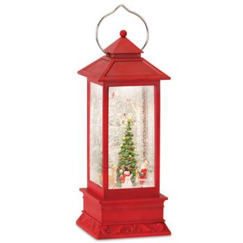 "12.5"" Santa Snowman and Reindeer Plastic Snow Globe Lantern with 6 Hour Timer"