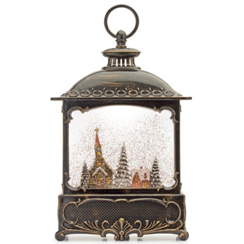 """12"""" Church and Christmas Trees Plastic Snow Globe Lantern with 6 Hour Timer"""