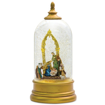"10.5"" Nativity Plastic Snow Globe with 6 Hour Timer"