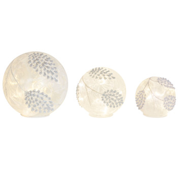 Frosted Pine Cone LED Glass Globes, Set of 3 with 6 Hour Timer