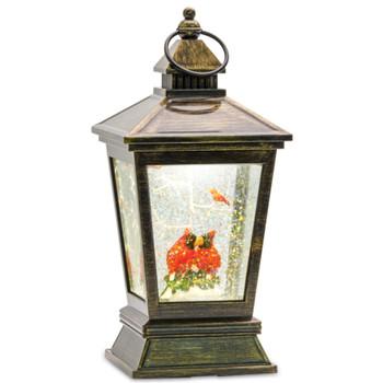 10.5 Cardinal Birds Acrylic Snow Globe Lantern with 6 Hour Timer