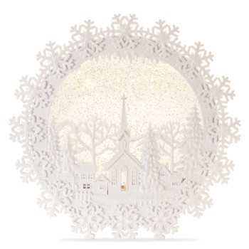 """12.25"""" Church Scene with Snowflakes Plastic Snow Globe with 6 Hour Timer"""