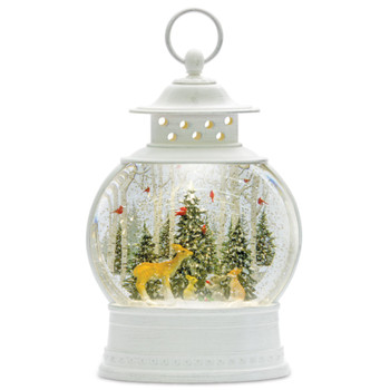 """11.5"""" Deer with Woodland Friends Plastic Snow Globe Lantern with 6 Hour Timer"""