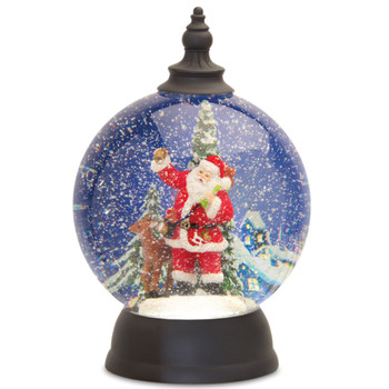 "9.25"" Santa with Reindeer Acrylic Snow Globe with 6 Hour Timer"