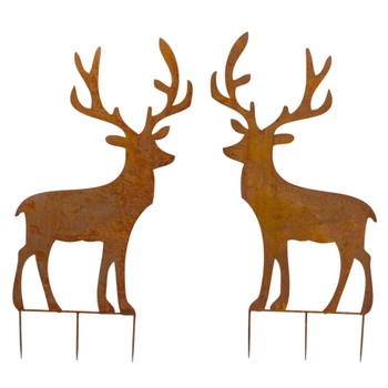 "49"" Deer Cut Out Iron Garden Stake Sculptures, Set of 2"