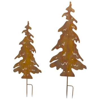 Tree Cut Out Iron Garden Stake Sculptures, Set of 2