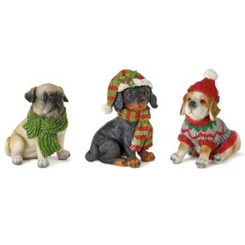 "3.5"" Winter Holiday Dog Sculptures, Set of 12"