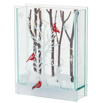 "7"" Glass Deer and Cardinal Birds Sculptures, Set of 2 with Lights and 6 HR Timer"