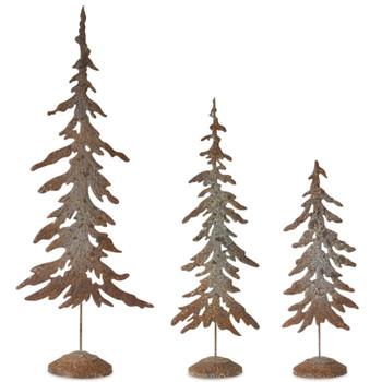 Rustic Metal Christmas Tree Sculptures, Set of 3