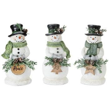 "8.25"" Peace Joy Noel Snowman Sculptures, Set of 3"