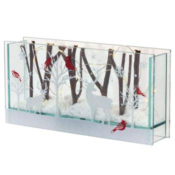 "9.5"" Glass Deer and Cardinal Birds Sculptures, Set of 2 with Lights and 6 HR Timer"