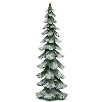 """26"""" Green Christmas Tree with Snow Sculpture"""