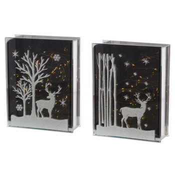 """7"""" Glass Deer and Tree Table Sculptures, Set of 2 with LED Lights and Timer"""