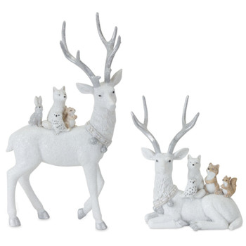 Deer with Cute Woodland Friends Sculptures, Set of 2