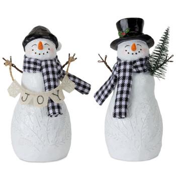 """6"""" Joyous Snowman with Plaid Scarfs Sculptures, Set of 4"""