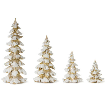 Gold Christmas Tree with Snow Sculptures, Set of 4