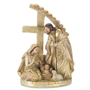 """10.25"""" Holy Family with Lamb Sculpture"""