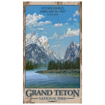 Custom Grand Teton National Park Vintage Style Wooden Sign