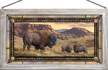 Bison Buttes Stained Glass Wall Art