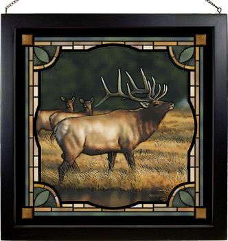 """20"""" Bull Elk Stained Glass Wall Art"""