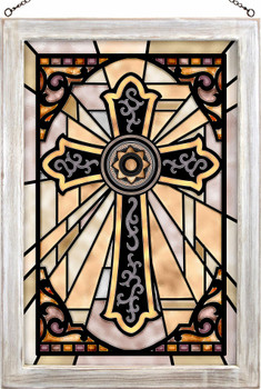 Western Cross Stained Glass Wall Art