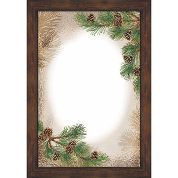 Pinecones Wall Mirror with Wood Frame
