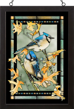 Blue Jay Birds Stained Glass Wall Art