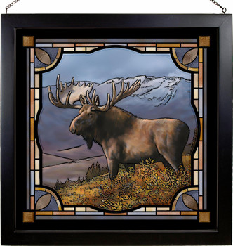 """20"""" Bull Moose Stained Glass Wall Art"""