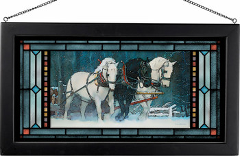 Snowfall Horses Stained Glass Wall Art