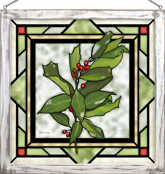 """20"""" Holly Berries Stained Glass Wall Art"""