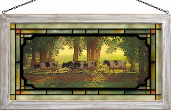 Heading Home Cows Stained Glass Wall Art