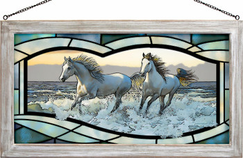 Wild Hearts Horses Stained Glass Wall Art