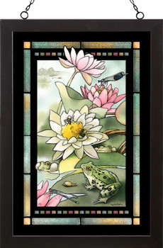 Green Frog Concert Stained Glass Wall Art