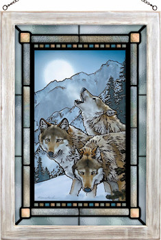 Moon Dancers Wolves Stained Glass Wall Art