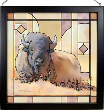 """20"""" Resting Bull Bison Stained Glass Wall Art"""