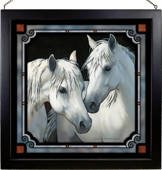 """20"""" Stable Mates Horses Stained Glass Wall Art"""