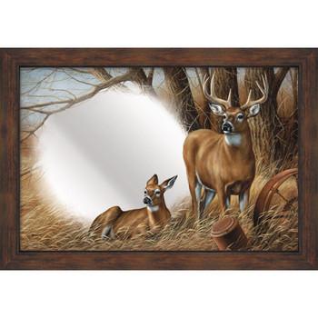 Rustic Retreat Deer Wall Mirror with Wood Frame