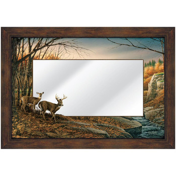 Indian Summer Whitetail Deer Framed Wall Mirror