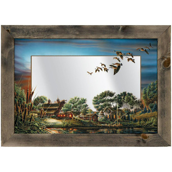 Lazy Afternoon Farm and Geese Framed Wall Mirror
