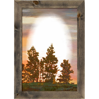 New Day Cowboy Scene Wall Mirror with Wood Frame
