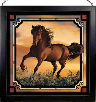 """20"""" Fire in the Sky Horse Stained Glass Wall Art"""