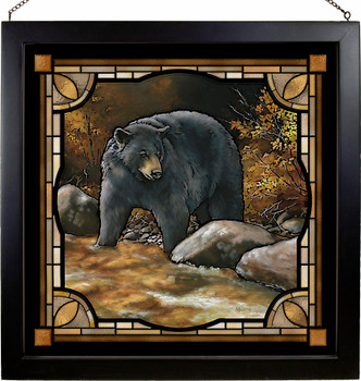 "20"" Streamside Black Bear Stained Glass Wall Art"