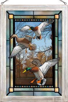 Greenhead Haven Mallard Ducks Stained Glass Wall Art