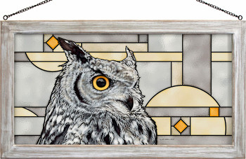 Great Horned Owl Portrait Bird Stained Glass Wall Art