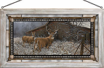 Chance Encounter Whitetail Deer Stained Glass Wall Art