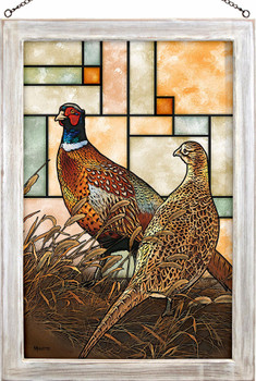 Twilight Escapade Pheasant Birds Stained Glass Wall Art