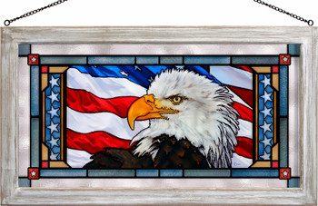 Let Freedom Ring Bald Eagle Bird Stained Glass Wall Art