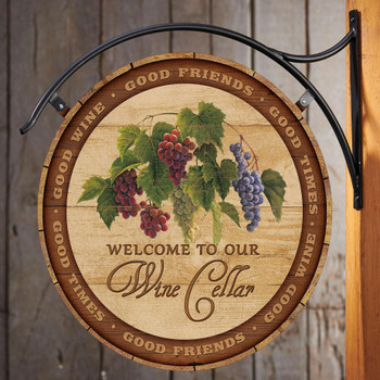 Welcome to Our Wine Cellar Double Sided Hanging Metal Sign